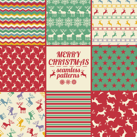 Retro set of Christmas and New Year seamless patterns with deers. Red, green and white winter scrapbook design backgrounds. All patterns are included in swatch menu.
