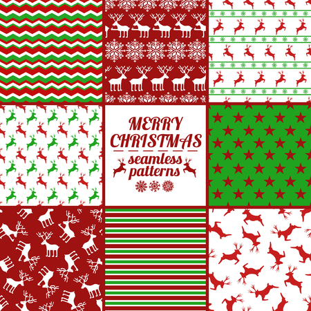 new season: Set of Christmas and New Year seamless patterns with deers. Red, green and white winter scrapbook design backgrounds. All patterns are included in swatch menu. Illustration