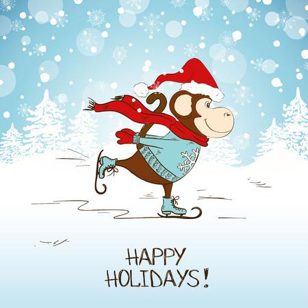 mono caricatura: Mono de patinaje de dibujos animados divertido. S�mbolo del A�o Nuevo y Navidad tarjeta de felicitaci�n del A�o Nuevo 2016..