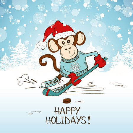 Funny cartoon monkey playing hockey. Symbol of the New Year 2016. New Year and Christmas greeting card. Illustration