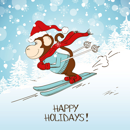 monkey cartoon: Funny cartoon skiing monkey. Symbol of the New Year 2016. New Year and Christmas greeting card. Illustration