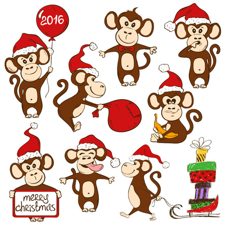 monkey cartoon: Christmas set of isolated funny cartoon monkey icons. Symbol of the New Year 2016.