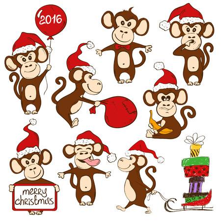 mono caricatura: Navidad conjunto de iconos aislados divertido mono de la historieta. S�mbolo del A�o Nuevo 2016. Vectores