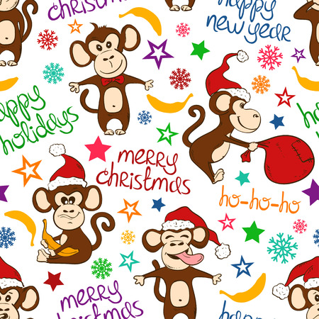 christmas symbol: Christmas and New Year background. Colorful seamless pattern with funny monkey and greeting text. Symbol of the New Year 2016. Illustration