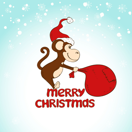 pulling: Christmas and New Year greeting card. Funny illustration with cartoon monkey pulling big sack on a blue snowfall background.