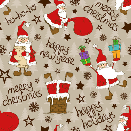 Christmas and New Year background. Seamless pattern with funny Santa Claus and greeting text. Illustration