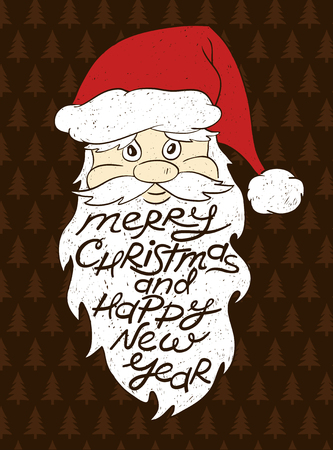 happy new year cartoon: Hand drawn isolated cartoon portrait of Santa Claus. Santas beard with greeting text. Christmas and New Year card.