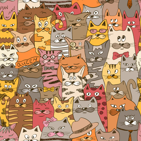 Colorful psychedelic seamless pattern with funny cats. Abstract graphic background.