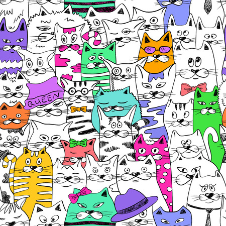 Black and white psychedelic seamless pattern with sketch colorful funny cats. Abstract graphic background.