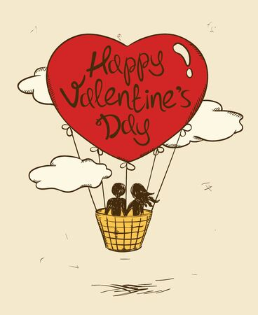 hot couple: Love greeting card with flying couple in hot air balloon. Valentines greeting card. Illustration
