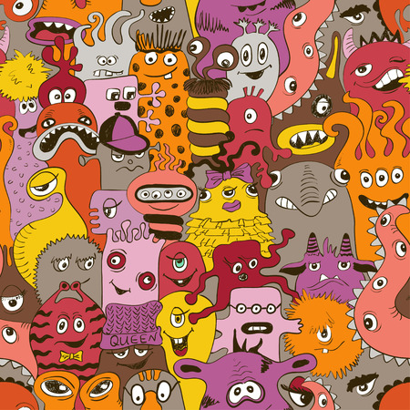 Psychedelic seamless pattern with sketch funny monsters. Abstract colorful background. 矢量图像