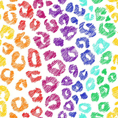 Hand drawn seamless pattern of colorful animal skin. Rainbow leopard background.