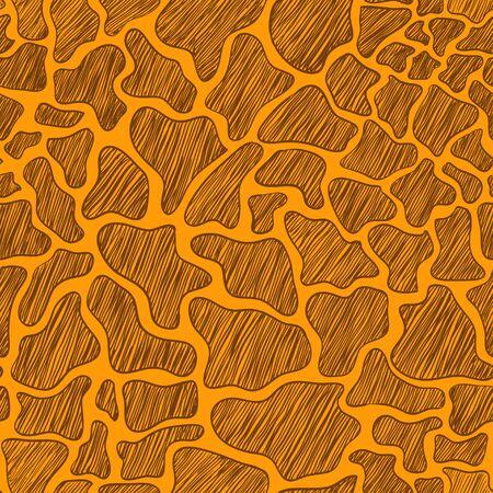 animal pattern: Hand drawn seamless pattern of animal skin. Yellow and brown giraffe background.