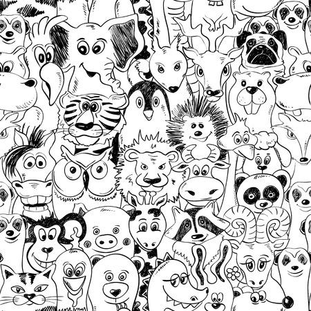 Zwarte en witte psychedelische naadloze patroon met grappige dieren. Abstracte grafische achtergrond.