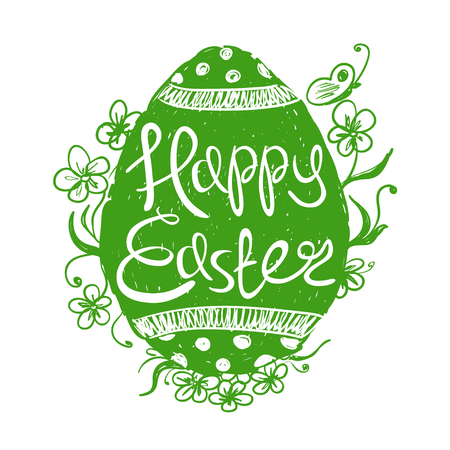 Ostern: Hand drawn isolated green Easter egg with text inside on a white background. Easter greeting card.