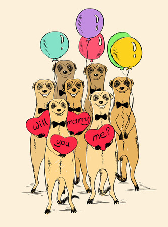 Sketch illustration with funny smiling group of meerkats. Cute meerkats holding air balloons and hearts with text will you marry me. Greeting Love or wedding card.