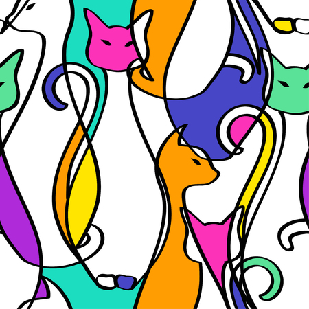 Seamless pattern of tribal geometric colorful African cats. Abstract background.