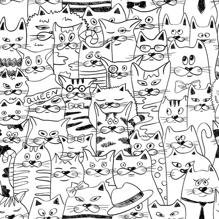 Black and white psychedelic seamless pattern with sketch funny cats. Abstract graphic background.