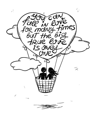 love silhouette: Love greeting card with flying couple in hot air balloon and inspiring phrase. Valentines greeting card.