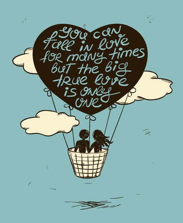 hot woman: Love greeting card with flying couple in hot air balloon and inspiring phrase. Valentines greeting card.