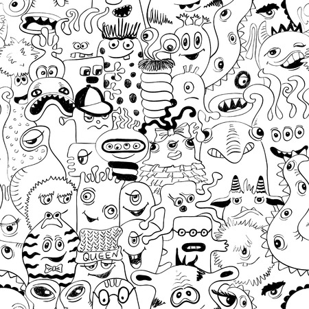 Black and white psychedelic seamless pattern with sketch funny monsters. Abstract graphic background.