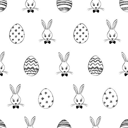 イースターのウサギと卵とシームレスなパターン。黒と白のイースターの背景。