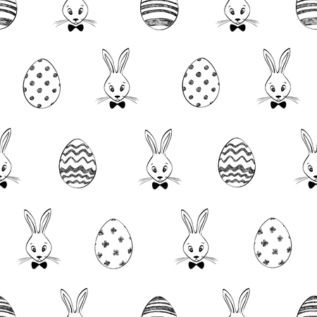 Easter seamless pattern with rabbits and eggs. Black and white Easter background.
