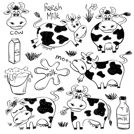 Set of isolated funny sketch cow and milk product icons. Cartoon cute cows.