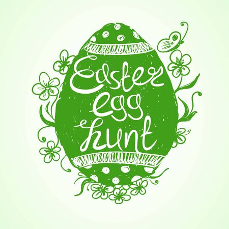 egg hunt: Hand drawn isolated green Easter egg with text inside on a white background. Creative Easter egg hunt invitation. Illustration