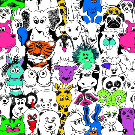 cartoon panda: Colorful bright psychedelic seamless pattern with funny animals. Abstract graphic background. Illustration