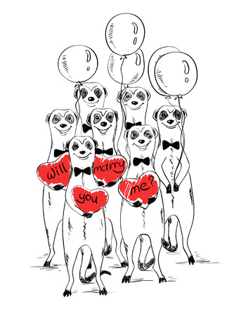 Graphic sketch illustration with funny smiling group of meerkats. Cute meerkats holding air balloons and hearts with text will you marry me. Greeting Love or wedding card.