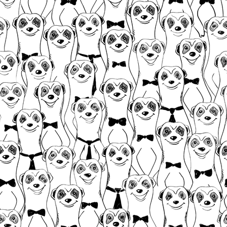 Black and white seamless pattern with funny smiling meerkats. Abstract graphic animal background.