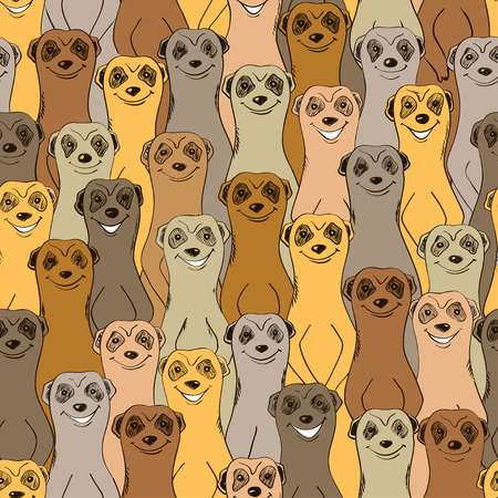 Colorful seamless pattern with funny smiling meerkats. Abstract animal background. Illustration