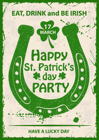 irish background: Retro hand drawn illustration of isolated green horseshoe silhouette. Typography St. Patricks day poster or greeting card. Illustration
