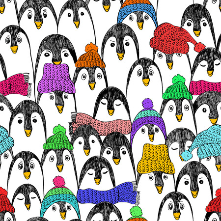 Graphic seamless pattern with cute hand drawn penguins in colorful hats and scarfs. Funny penguin background.
