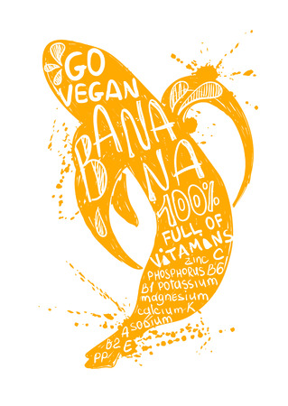 Hand drawn illustration of isolated yellow banana silhouette on a white background. Typography poster with lettering inside the banana. Illusztráció