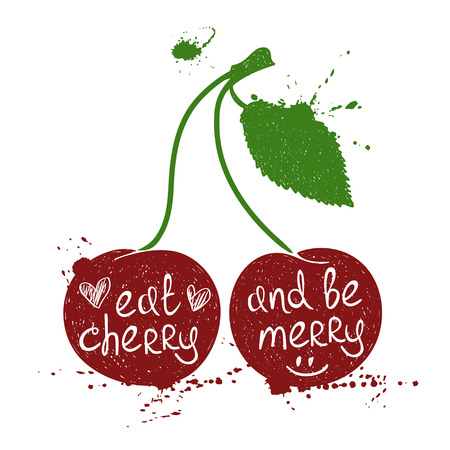 poetic: Hand drawn illustration of isolated colorful cherry silhouette on a white background. Typography poster with creative poetic quote inside - eat cherry and be merry.
