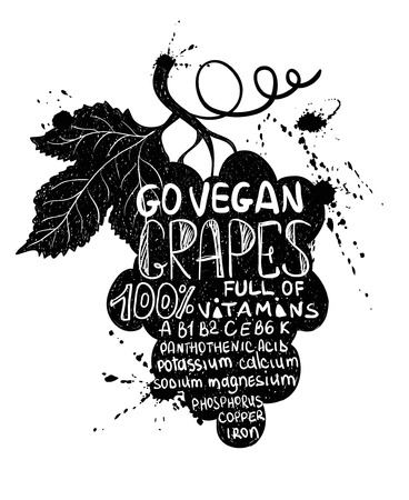 black grape: Hand drawn illustration of isolated black grape branch silhouette on a white background. Typography poster with lettering inside the grapes. Illustration