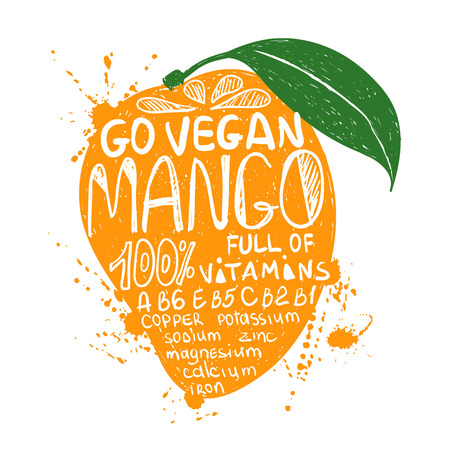 Hand drawn illustration of isolated colorful mango fruit silhouette on a white background. Typography poster with lettering inside the mango. Illustration