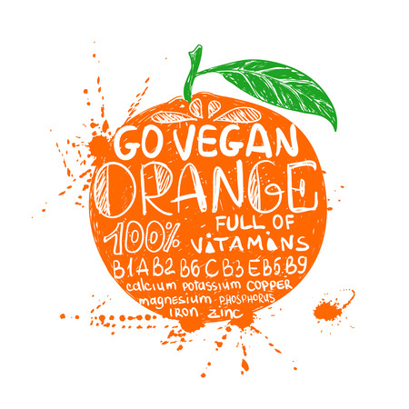 Hand drawn illustration of isolated colorful orange fruit silhouette on a white background. Typography poster with lettering inside the orange. Иллюстрация