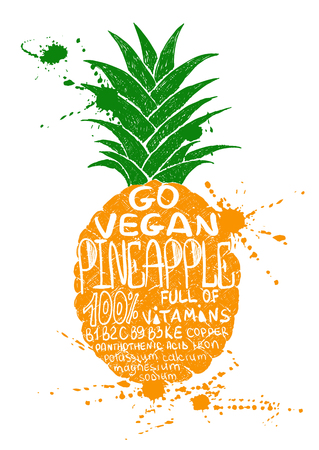 summer diet: Hand drawn illustration of isolated colorful pineapple silhouette on a white background. Typography poster with lettering inside the pineapple.
