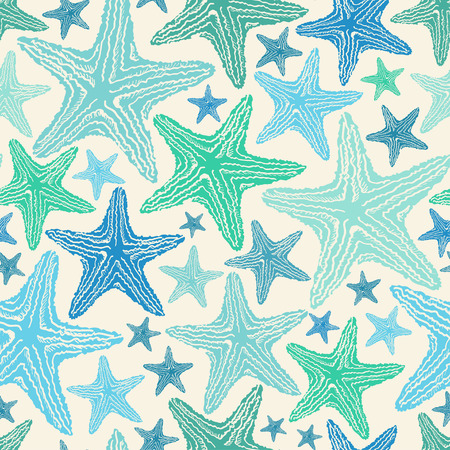 blue green background: Seamless pattern of blue green starfish on a white background. Illustration