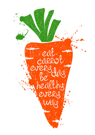 eat healthy: Hand drawn illustration of isolated colorful carrot silhouette on a white background. Typography poster with creative poetic quote inside - eat carrot every day be healthy every way. Illustration
