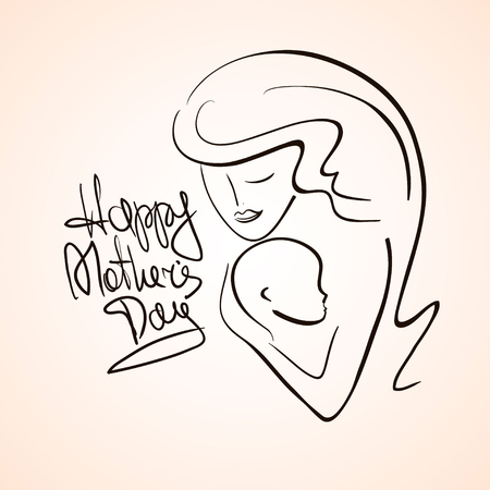 child care: Illustration with isolated outline silhouette of mother and baby child. Happy Mothers day greeting card.