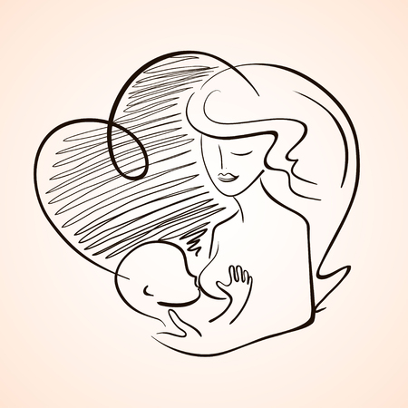 Illustration with outline silhouette of mother breastfeeding baby child. Isolated symbol.