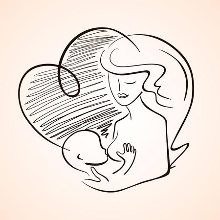 Illustrazione con silhouette contorno della madre che allatta bambino neonato. simbolo isolato. Vettoriali
