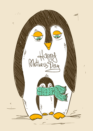 parenthood: Illustration with cute penguin bird and chick. Happy Mothers day or Fathers day greeting card. Parenthood concept. Illustration