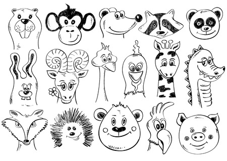 Set of isolated funny cartoon smiling animal face icons. Creative avatars. Sketch animal face characters. Иллюстрация