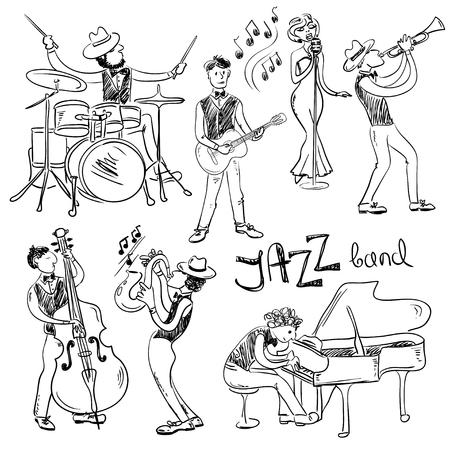 Conjunto divertido de los músicos de jazz aisladas croquis dibujado a mano. Iconos de la banda de jazz. Ilustración de vector