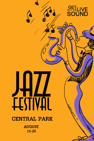 play school: Musical creative poster with saxophone player. Jazz festival design concept invitation.